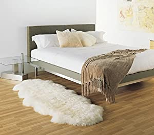 100% Genuine Zealand Ivory White Extra Large Sheepskin Rug 180 x 75 cm from Barnscroft of Devon