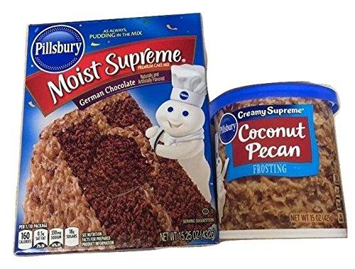 Pillsbury Moist Supreme Premium Cake Mix German Chocolate with Coconut Pecan Gluten Free Frosting 2 Piece Set (German Chocolate Cake Mix compare prices)