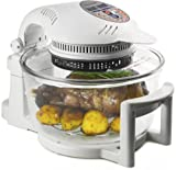 Andrew James 12 LTR Premium White Digital Halogen Oven Cooker With Hinged Lid + Easily Replaceable Spare Bulb + 2 YEAR WARRANTY + 128 page Recipe Book - Complete with Extender Ring (Up to 17 Litres), Cake/Rice Dish, Toast Rack, Baking Tray, Steamer Tray,