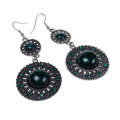 Green Simulated Crystals Vintage Design Archaize Long Dangle Drop Earrings
