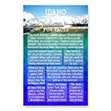 IDAHO FUN FACTS postcard set of 20 identical postcards. US state trivia post card pack. Made in USA.