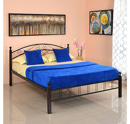 @home by Nilkamal Nimbo Queen Size Bed without Storage (Matte Finish, Black)