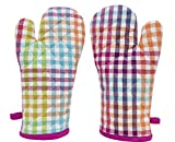 ELAN Cotton Microwave Oven Gloves 18 X 32 CM (Morrocon Check) (Set of 2)