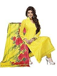 Isha Enterprise Women's Schilli Dress Material(KFD372-1004_Yellow)