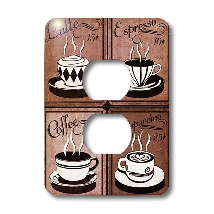 Lsp_163698_6 Florene Retro - Image Of Coffee Collage Of Four Cups In Browns - Light Switch Covers - 2 Plug Outlet Cover