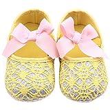 etrack-online reci�n nacido ni�a lazo suave soled zapatos de Prewalker Cuna amarillo amarillo Talla:12-18months
