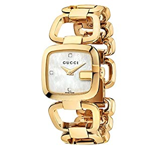 Gucci G-Gucci Collection Women's Quartz Watch with Mother of Pearl Dial Analogue Display and Gold Plated Stainless Steel Bracelet YA125513