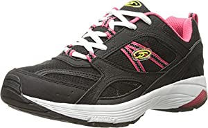 Dr. Scholl's Women's Curry Fashion Sneaker, Black/Pink Leather, 8.5 M US