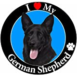 """I Love My German Shepherd"" Black Car Magnet With Realistic Looking German Shepherd Photograph In The Center Covered In High Quality UV Gloss For Weather and Fading Protection Circle Shaped Magnet Measures 5.25 Inches Diameter"