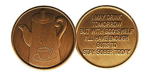 Coffee Pot-Bronze-AA Alcoholics Anonymous-ACA-AL-ANON -Sober-Sobriety-Recovery-Medallion-Coin-Chip