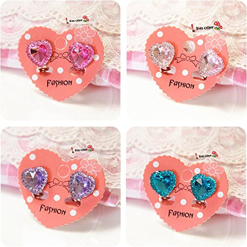 Elesa Miracle 4pc Girl Party Favor Birthday Gift Pretend Play Princess Jewelry Heart-Shaped Clip-on Earrings (Clip On Earrings For Kids compare prices)