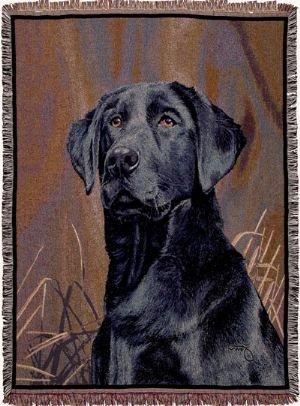Black Labrador Retriever Dog Deluxe Full-Size Tapestry Blanket Throw