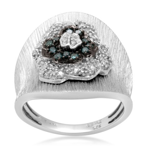 Sterling Silver Blue and White Diamond Ring (1/4 cttw, I-J Color, I3 Clarity), Size 7