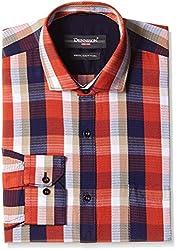 Dennison Men's Formal Shirt (SS-16-403_44_Orange)