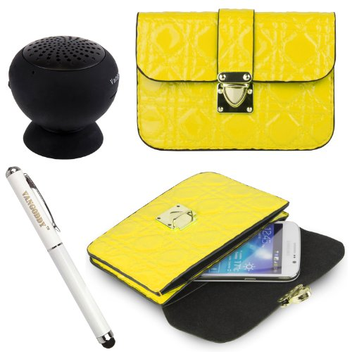 Quilted Pu Leather Cell Phone Bag Pouch Case For Acer Liquid E700 / E600 / Jade / X1 / Z200 / Z4 / E3 / Z5 + Stylus Pen + Black Bluetooth Speaker (Yellow)