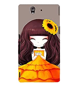 EPICCASE sunflower cute girl Mobile Back Case Cover For Sony Xperia Z (Designer Case)