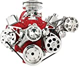 NEW BILLET SPECIALTIES SMALL BLOCK CHEVY POLISHED FRONT ENGINE SERPENTINE CONVERSION KIT WITH KEYWAY POWER STEERING PUMP PULLEY & BRACKET, AIR CONDITIONER COMPRESSOR BRACKET & CLUTCH COVER, MIDDLE PASSENGER-SIDE ALTERNATOR MOUNTING BRACKET, SBC WATER PUMP, CRANK, & ALTERNATOR PULLEYS