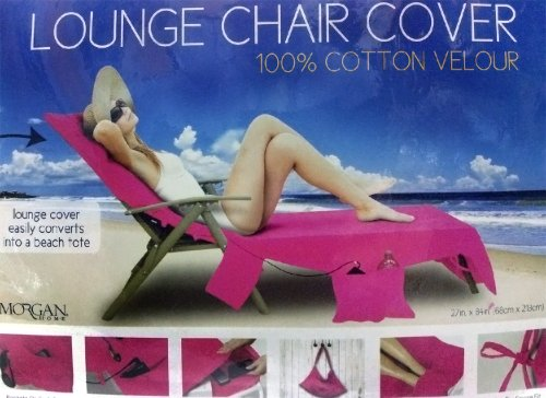 Chairs Product Feature: Buy Morgan Home Hot Pink Lounge Chair Cover 100%  Cotton Velour   Best Prices !! Patio Chairs Cover