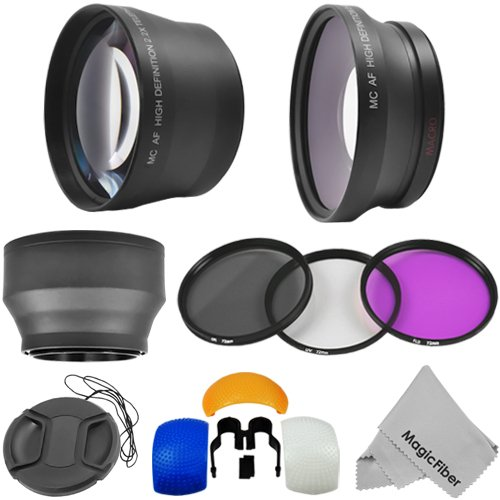 72MM Lens and Filter Kit for DSLR Cameras and Camcorders (CANON XHA1 XHG1 XL1 XL1E XL1S XL2 XL2E, PANASONIC AG-DVX102 DVX100B) – Includes: 0.43X Wide Angle Fisheye (w/Macro Lens Portion) and 2.2X Telephoto High Definition Lenses + Filter Set (UV, CPL, FLD) + Collapsible Soft Rubber Lens Hood + Pop Up Flash Diffuser Set + Center Pinch Lens Cap + Premium MagicFiber Microfiber Cleaning Cloth