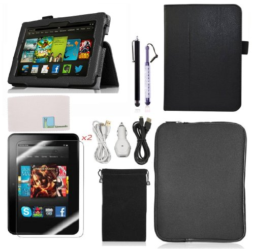 Llamamia Folio Stand PU Leather Case Cover Bundle for Kindle Fire HD 7 Inch (2013 Version) with Car Charger, Two 6F Cables, Velvet Bag, Zipper Sleeve Bag, 2 Screen Protectors, 2 Stylus(Not Compatible with 2012 Release or HDX 7)(Black) (Kindle Fire Hd Bundle Package compare prices)
