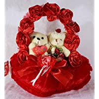 Red Satan Rose Handle Heart With Love Couple Teddy Bears