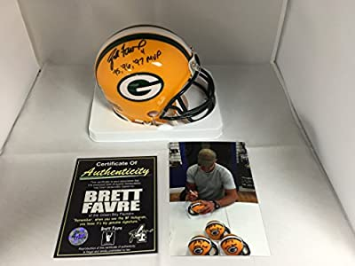 Brett Favre Autographed Signed Multi Inscribed Super Bowl MVP Green Bay Packers Mini Helmet Favre COA & Player Hologram