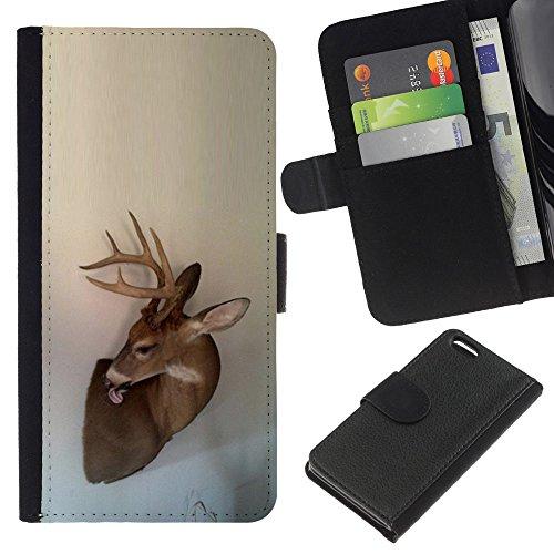 Antlers Beige Natura Primavera animale - Portafoglio in pelle della Carta di Credito fessure PU Holster Cover in pelle case Per Apple iPhone 5C