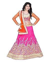 Khodiyar Creation Women's Silk Lehenga Saree (Pink)