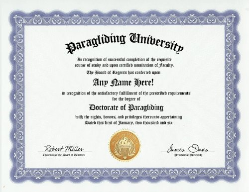 Paragliding Paraglider Degree: Custom Gag Diploma Doctorate Certificate (Funny Customized Joke Gift - Novelty Item)
