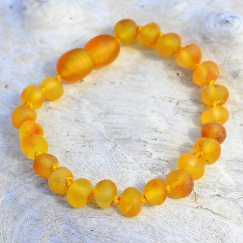 Raw Baltic Amber Teething Bracelet for Baby - Safety Knotted - Honey (4 inches)