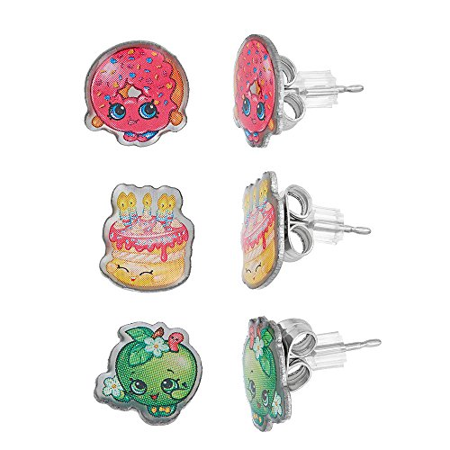 Shopkins Pretend Play Girl's Set of 3 Pierced Earrings Apple Blossom, D'lish Donut, Wishes