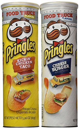 Bundle of 4 -Limited Edition Food Truck Flavor Pringles - 2 Kickin' Chicken Taco & 2 Cheeseburger 5.96 Oz Each