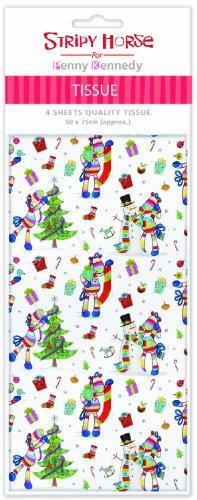 Stripey Cavallo e Natale snowmentissue carta regalo con motivo stampato, 4fogli 50x 70cm