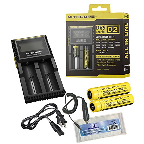 Nitecore D2 2014 New Version Universal Smart Battery Charger For Li-Ion 26650 22650 18650 17670 18490 17500 18350 16340 Rcr123 14500 10440 Ni-Mh And Ni-Cd Aa Aaa Aaaa C Imr Lifepo4 Batteries Monitors The Battery Kinds Automatic Adjust Charge Mode Cc, Cv A