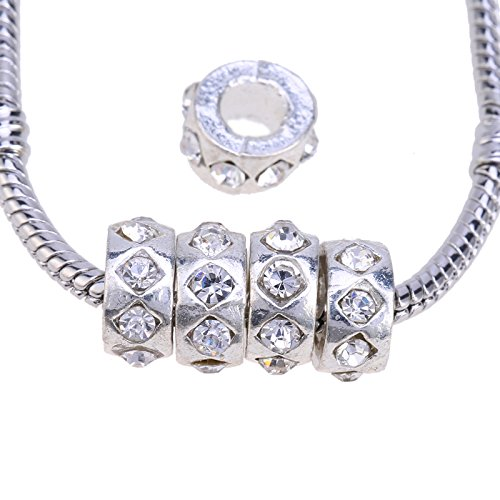 RUBYCA Silver Color Tibetan Metal Charm Beads Crystals for Jewelry Making White Clear Crystals 30Pcs