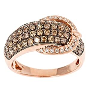 Dyach:14k Rose Gold 1 1/6ct TDW Brown and White Diamond Buckle Ring (G-h, I1-i2)