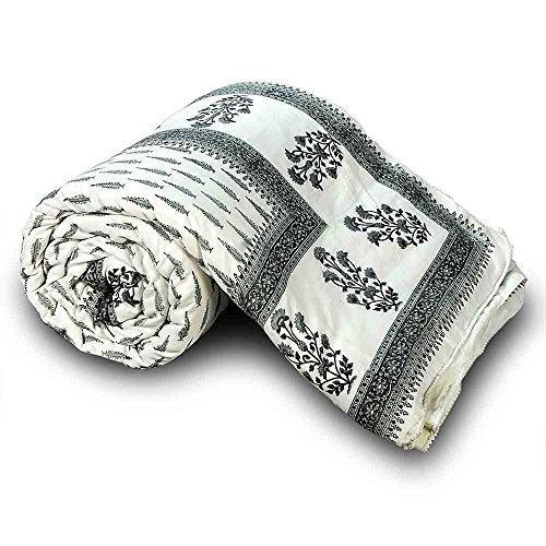 Jaipuri Floral tradicional Little India algodón de funda de edredón para cama individual gris