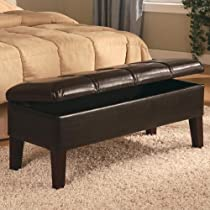 Coaster Button-Tufted Design,Brown Leatherette Storage Bench
