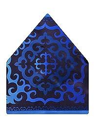 Tiekart Self Design Polyester Pocket Square (Ps518_Blue)
