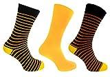 Mens Alexander Green Socks 7-11 Dress Socks Stripe Style (Yellow)