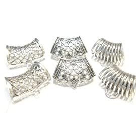 Fashion Jewelry Zinc Alloy Metal Scarf Bails Silver Floral Scarf Bails Charm Pendant Accessories 3 Styles Sold 6pcs