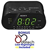 Sony Compact AM/FM Alarm Clock Radio with Large LED Display, Extendable Snooze, & Built-in Battery Back-Up - Black *BONUS* DB-Tech LED Nightlight Included