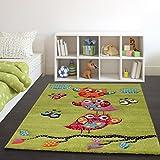 Paco Home Tappeto per Bambini con Gufetti su Rami nei Verde Arancione Crema Blu Rosso, Dimensione:160x230 cm