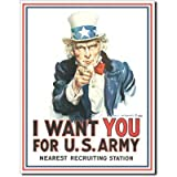 Uncle Sam I Want You for U.S. Army Retro Vintage Tin Sign