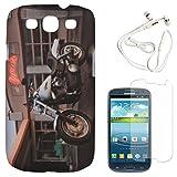DMG Night Glow Hard Back Cover Case For Samsung Galaxy S3 Neo GT-I9300I (Bike) + White Earphones + Matte Screen...