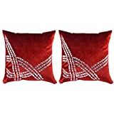 Royal DecoFurnishing Velvet 2 Piece Cushions & Cushion Covers - (Maroon, 39.37 X 39.37 Cm)