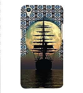 PrintVisa Travel Ship Sunset 3D Hard Polycarbonate Designer Back Case Cover for Oppo F1 Plus