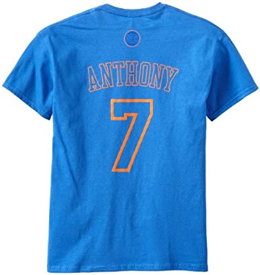 NBA New York Knicks Carmelo Anthony Men's Latin Night Name and Number Tee, Blue, Large