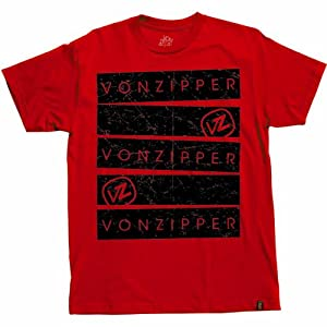 VonZipper Big Bars Men's Short-Sleeve Casual Wear T-Shirt/Tee - Red / X-Large