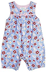 JoJo Maman Bebe Floral Dungarees (Baby)-Blue-0-3 Months